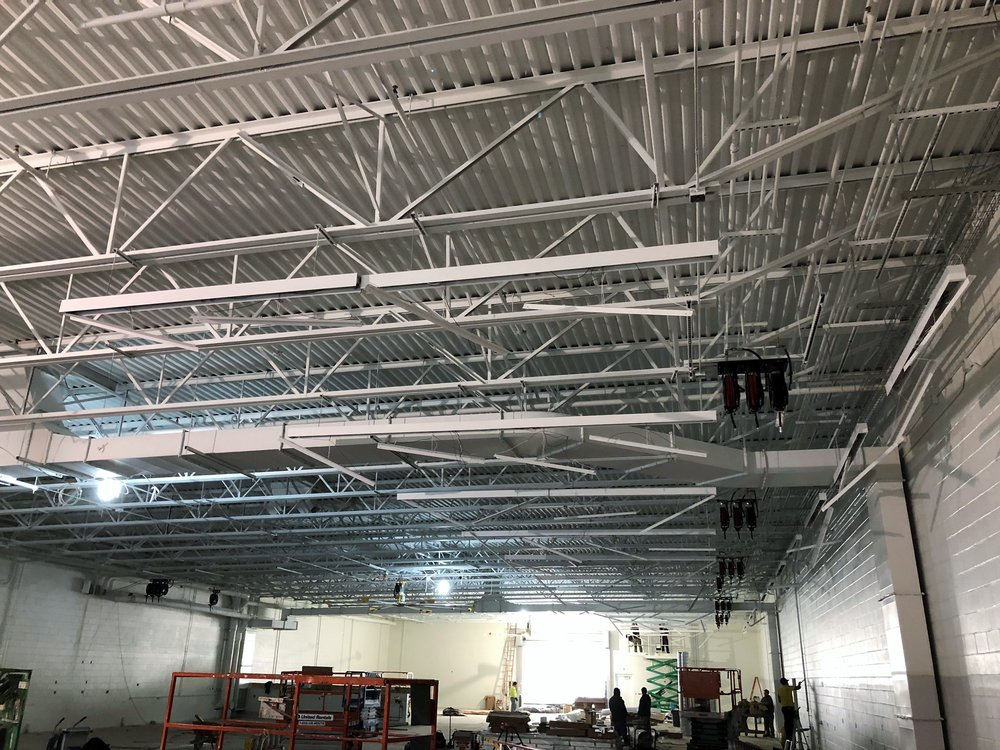 Ceiling lighting is being completed over the drive-in lanes. 3-08-18