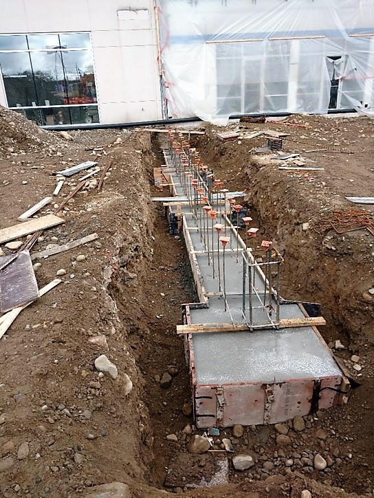 Concrete footings poured