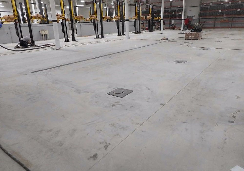 1-24-19 Starting the prep for the new epoxy floor finish in the service area