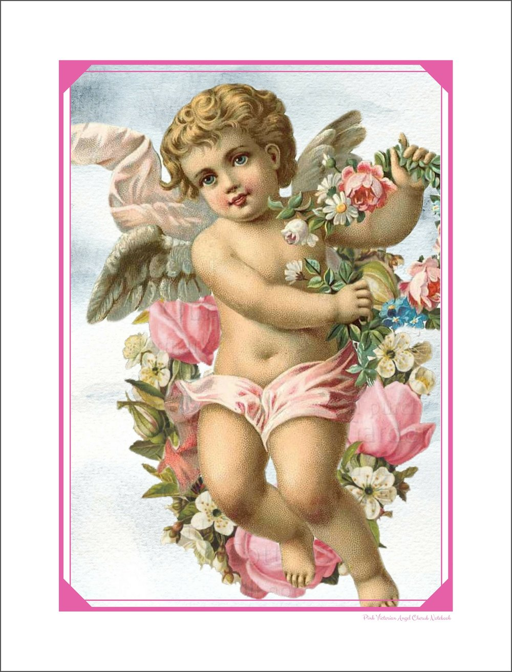 - A precious victorian style cherub angel graces the cover of this wide ruled notebook. Back cover features matching hot pink color. For all the angels lover's out there!Features:Large size notebook measures 8.5 x 11 inchesWide ruled lined paperFlexible soft cover design. Glossy.100 pages White interior pages60 # paper stockMade in the USA Created with love