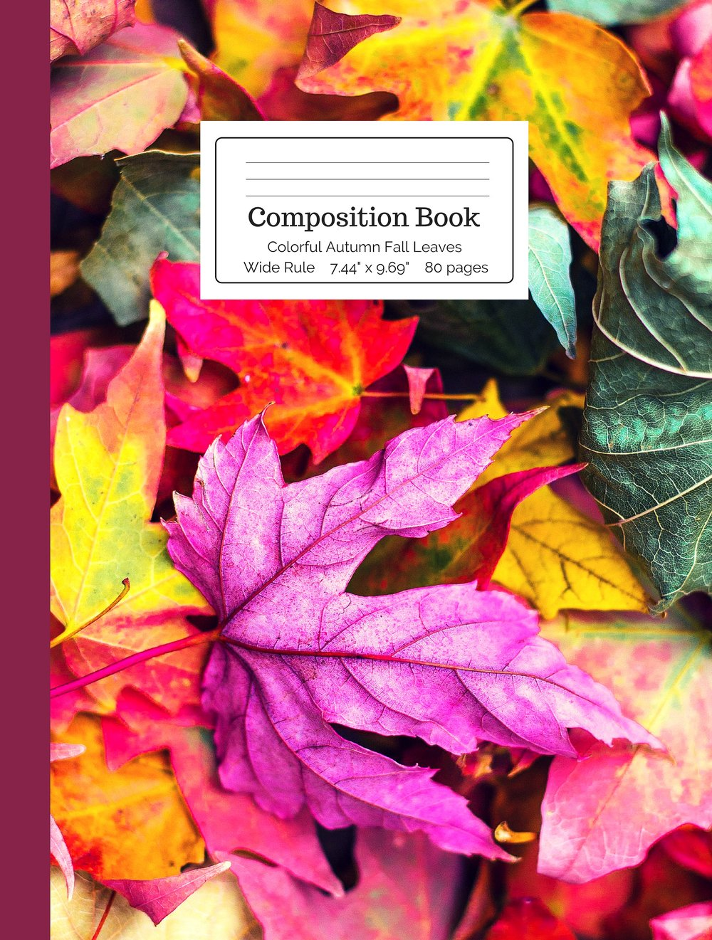 Colorful Autumn Fall Leaves Composition Book
