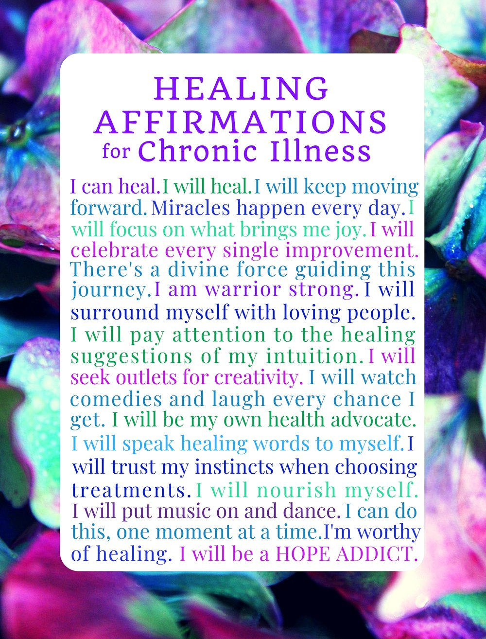 Healing Affirmations for the Chronic Illness Blank Journal Notebook by Kimberly Ahri