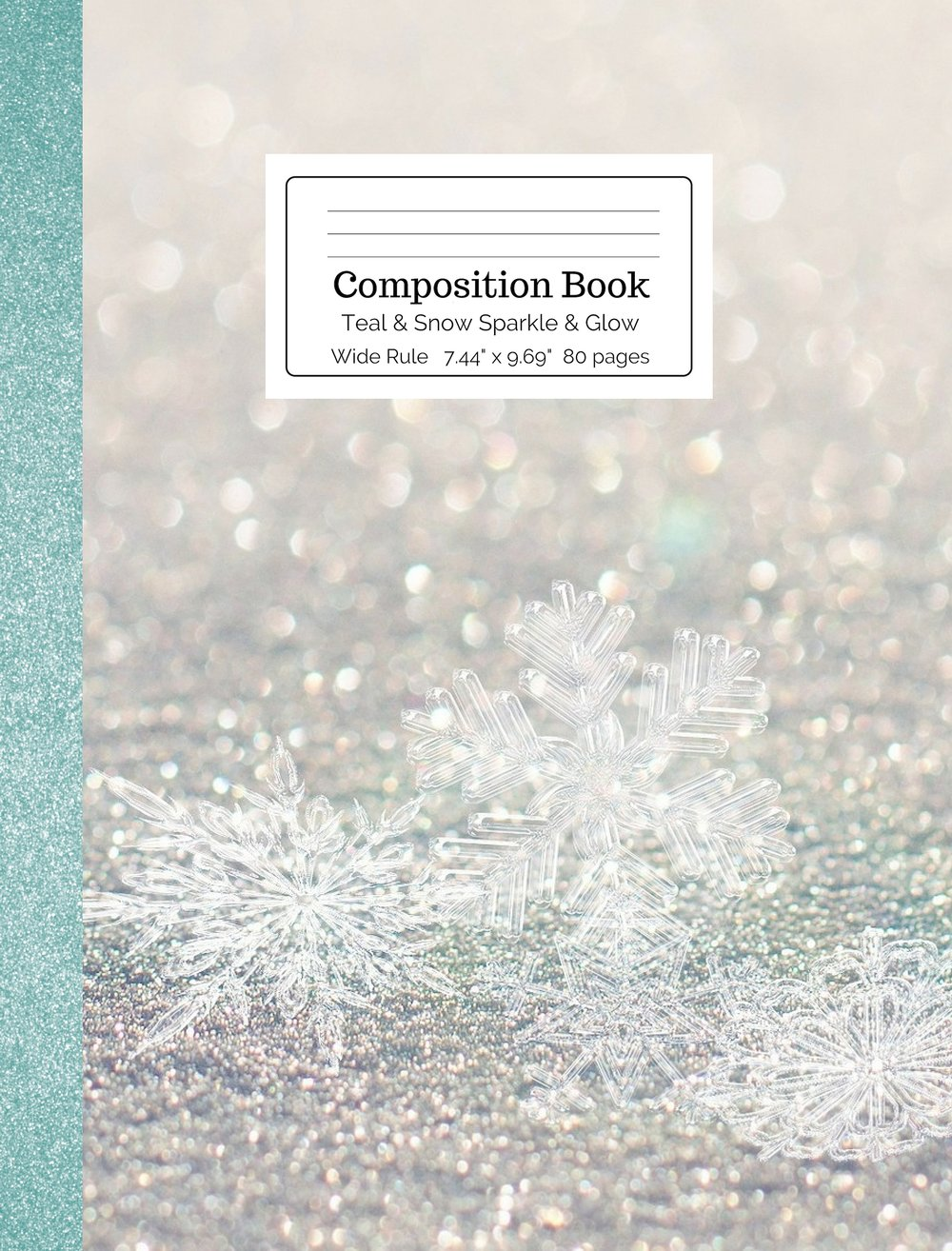 Teal & Snow Sparkle & Glow Composition Book