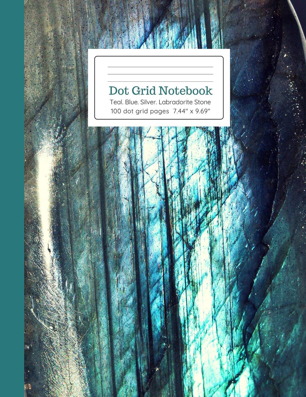 Dot Grid Notebook Teal Blue Silver Labradorite Stone