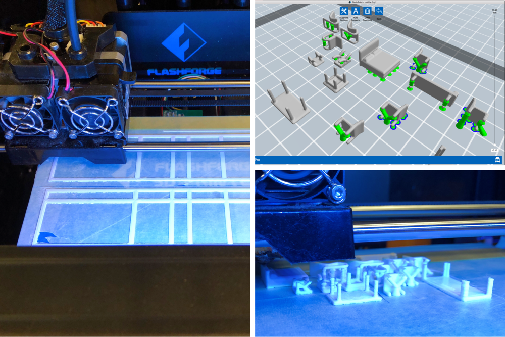 The 3D prints were downloaded from Thingiverse, prepared in Flashprint, and produce on FlashForge 3D printers.