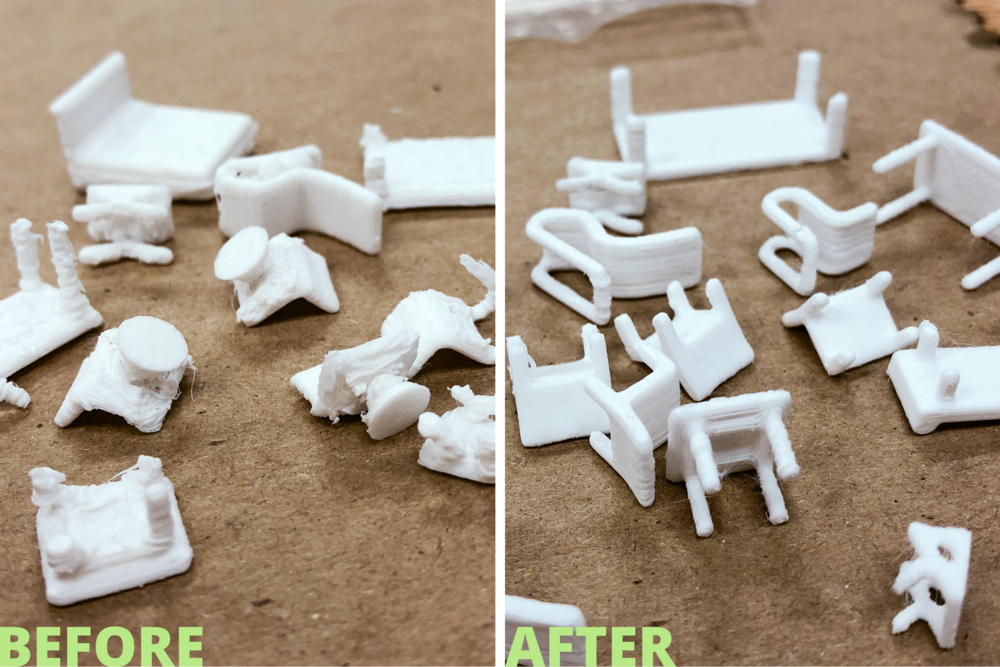 My 1st attempt at printing tiny furniture resulted in three-legged tables and chairs. I tweaked the settings and rotated the furniture so that the largest surface area was in direct contact with the printing bed.