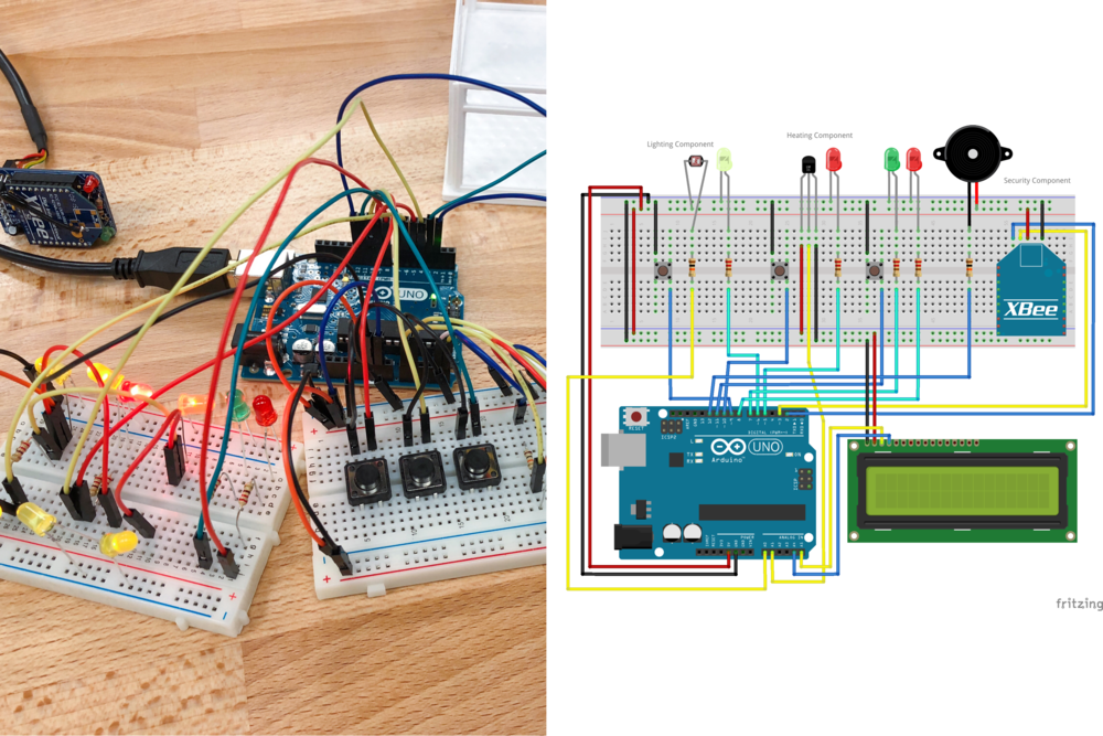 The individual components are combined into one integrated build (left). A fritzing diagram (right) illustrates how the hardware components are wired together