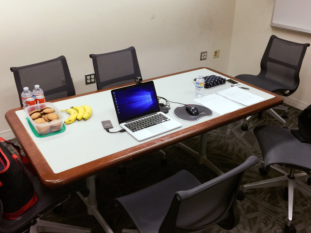Our testing room set-up with refreshments, a camera which connects to Morae, and a testing script for the moderator.