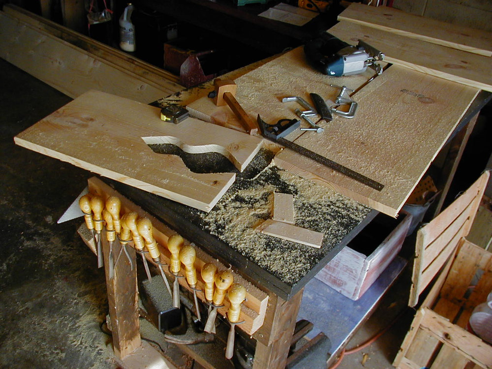 wood shop  - Stephen would use a simple bench saw,  basic hand power tools, and a variety of hand carving chisels to create most of his designs, many of which ended up in his home or recording studios.
