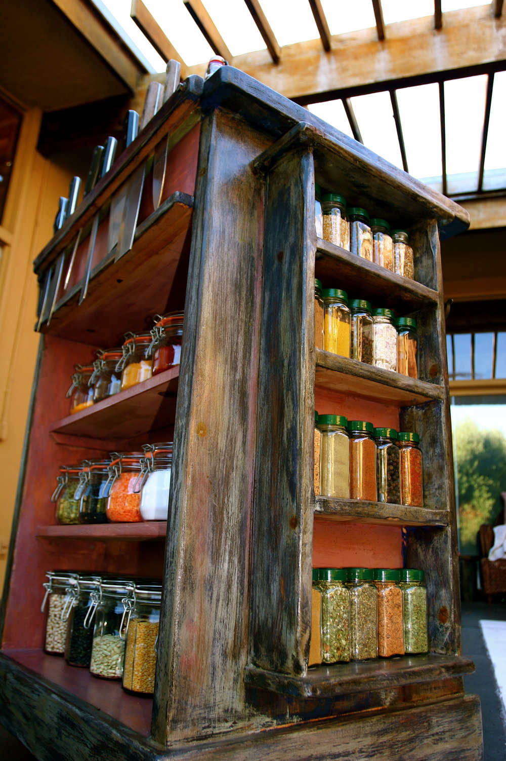 View of the : Mason Jar storage / Spice rack / Knife rack