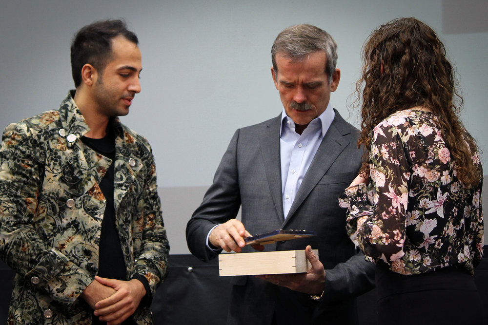 Presenting and gifting a Unify Box to Chris Hadfield. This Unify Box was the result of a collabration between Hassan Rezaei and Hamid Shahi