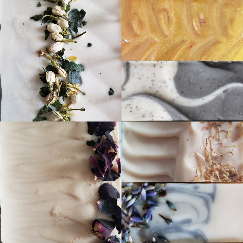 Clockwise from Top Left: Neroli-Lime & Balsam, Lemongrass & Ginger, Star Aniseseed, May Chang Orange, Bulgarian Lavender, and Cardamom (Rose) Geranium.