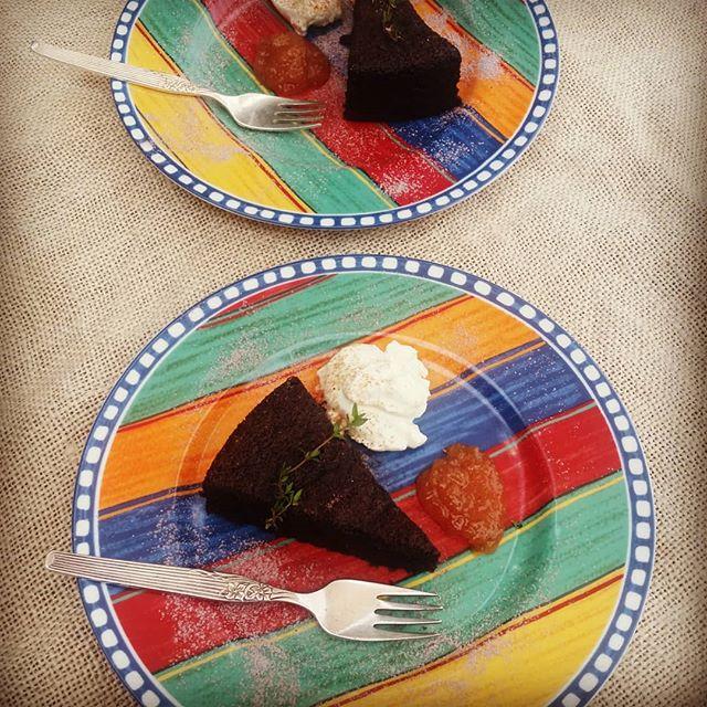 Oyster_River_Retreat AutumnChocolateCake#glutenfree#GreekYoghurt#FigConserve#Whereelse.