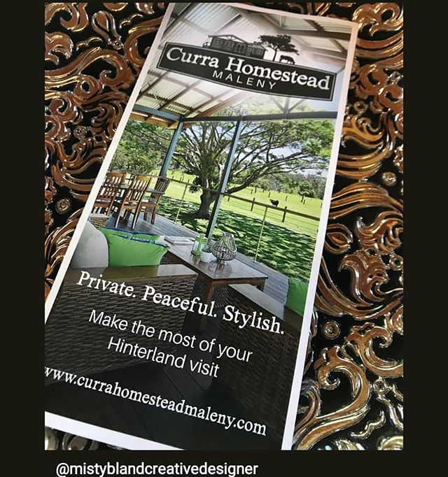 Fabulous new brochure produced by Ben at Ausgraphics in Palmwoods. There's still one weekend available in September due to a cancellation. Be quick to experience some true Maleny Magic at www.currahomesteadmaleny.com