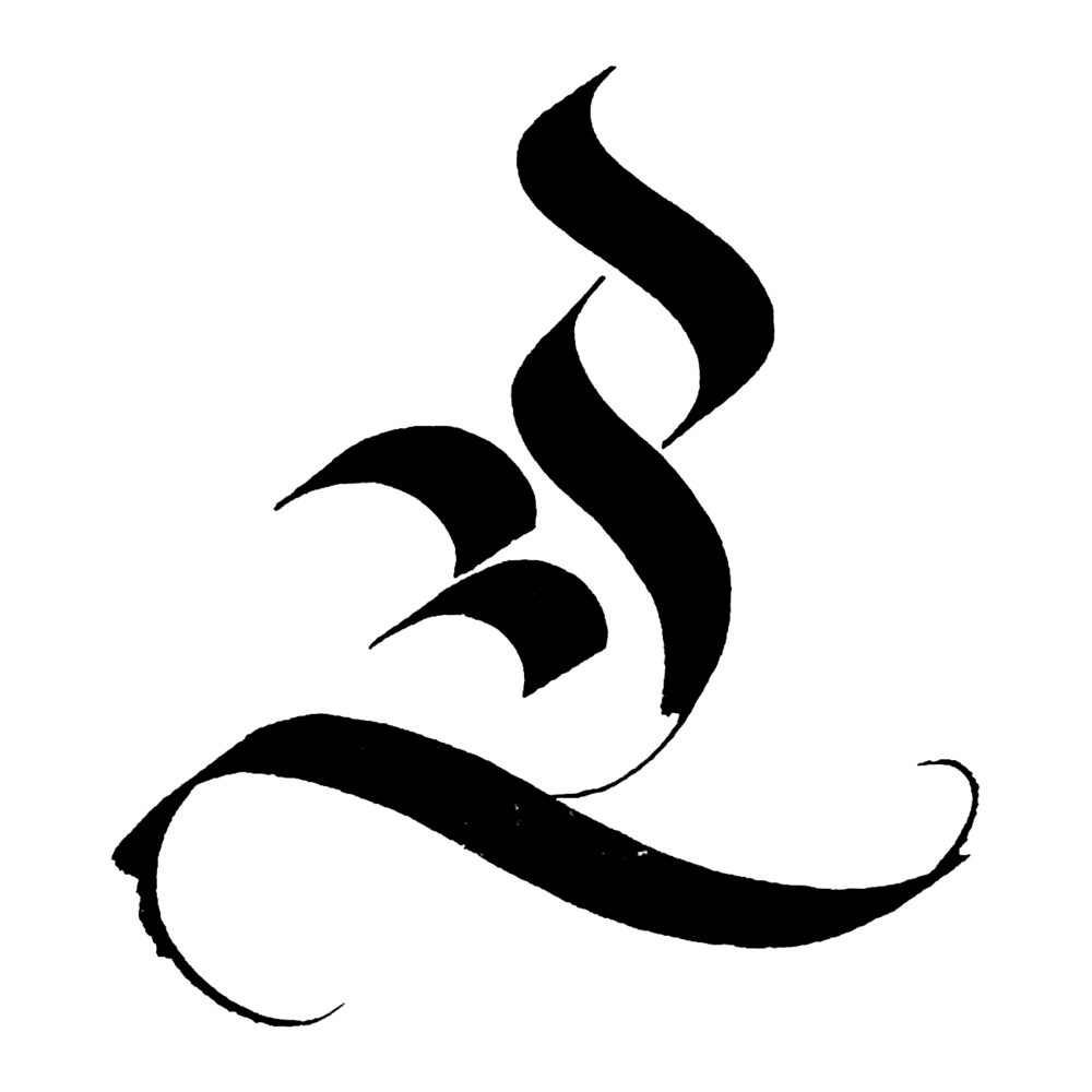 Fraktur Majuscule L - Blackletter L inspired by Rudo Spemann, 1905–1947Tool: Mitchell nibInk: Higgins Eternal inkSubstrate: White marker paper
