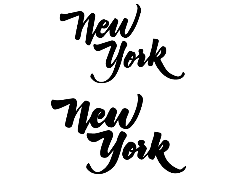 """New York, New York"" - Hand-lettered, in a ""regular"" and ""bold"" style! Sakura Pigma Micron on paper"