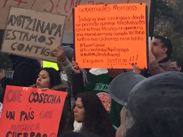 A NYC Protest against the Mexican Government for the 43 missing, and presumed murdered, students from Ayotzinapa School in Mexico.