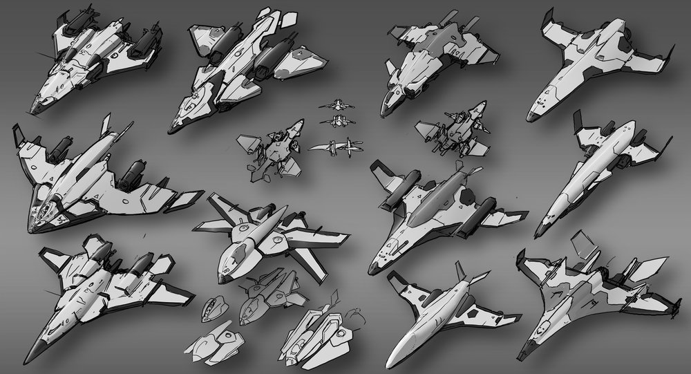 These ships are designs on a compact fast scout and personal drop ship. A folded wing design is needed so as to fit inside a small drop ship.