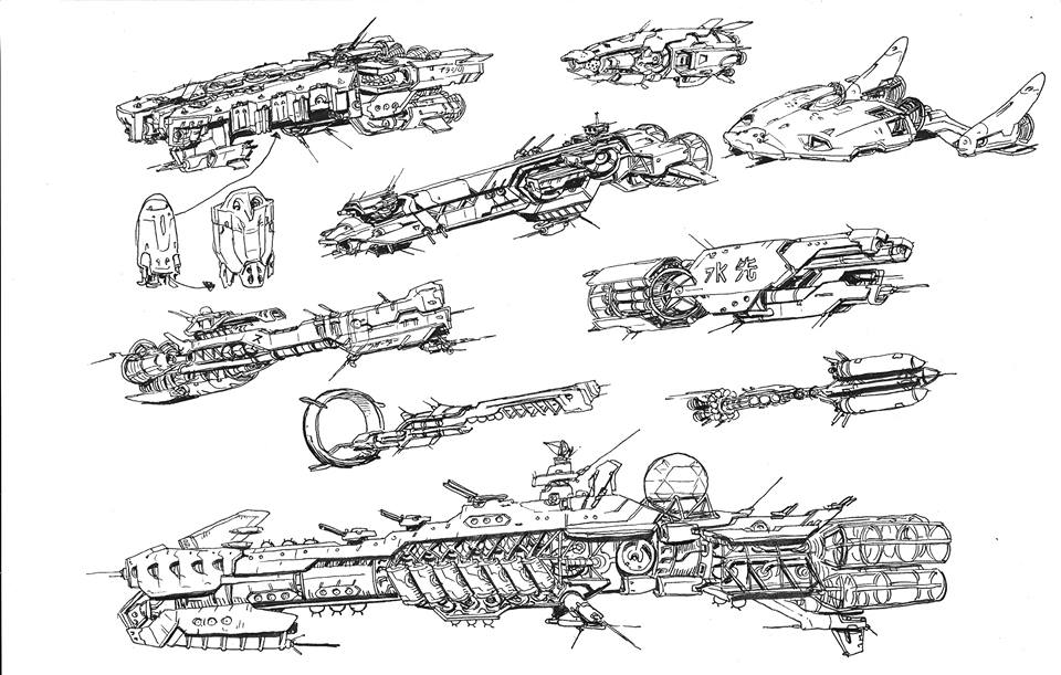 Various ships for FOLD made during Inktober