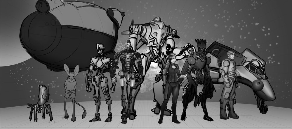 Like the previous image, this was an attempt to create an image to show all the characters of the story. It was ditched in favor of a more action packed image above.