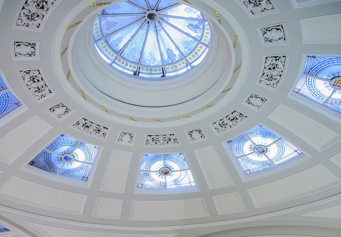 The Portico Library's painted Georgian dome.