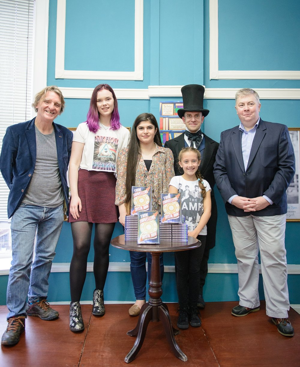 From left to right: Melvin Burgess (Portico patron), Emily Graham, Aya Ahmad, Macey Wareing, actor as Peter Mark Roget and Paul Morris at Waterstones, Deansgate.