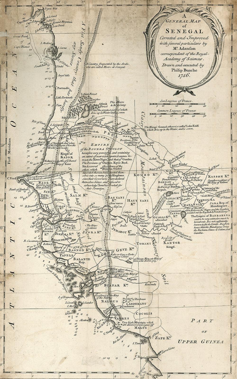 Map of Senegal,  1756