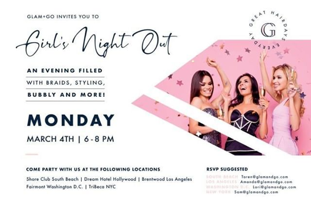 Who's ready for a  much needed G.N.O. ❔⠀ ⠀ 🙋🙋🙋🏽 Hands up, ladies, so we can fill them with a glass of 🥂 bubbly 🥂 while you pamper yourself.⠀ ⠀ So tag your friends, ✏️ us in for Monday, March 4th from 6 - 8 pm, and join us for an evening of braids, styling, and more 🥂⠀ ⠀ 👉PRO PARTY TIP: be sure to RSVP to your location suggested above. 💋 ⠀ ⠀ We can't wait to get our glam on with you! 👸 ⠀