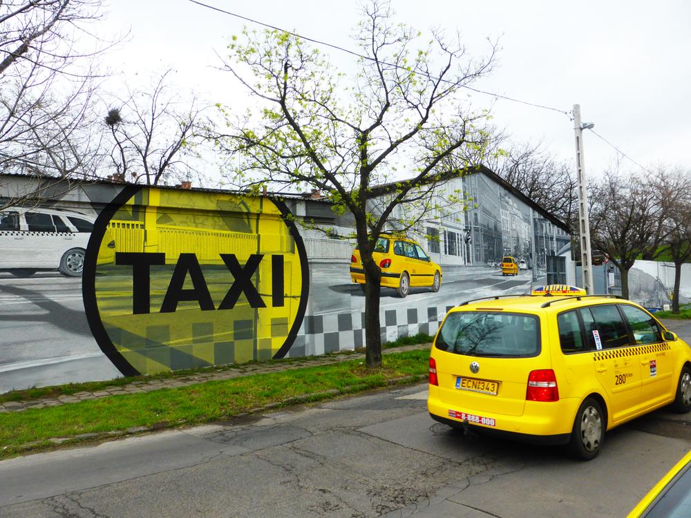 vertigo murals Reklámfestés Taxi falfestmény tűzfalfestmény dekorációs festés falfestés