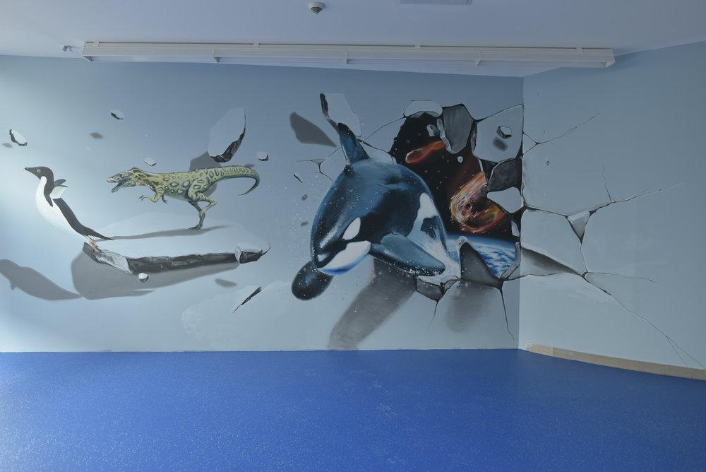 vertigo murals UV 3D minigolf festés dekorációs falfestmény tűzfalfestés beltéri falfestmények