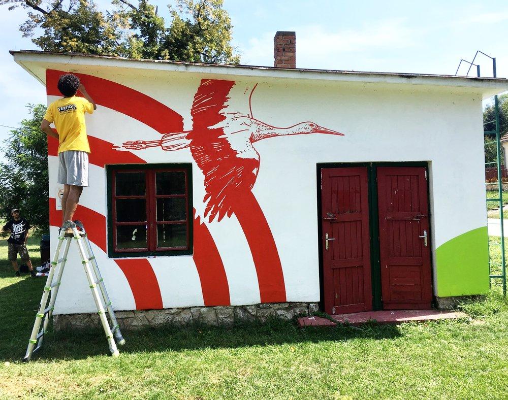Palkonya hangja vertigo murals falfestmény dekorációs falfestmény falfestmény tűzfalfestmény címfestés dekorációs falfestés