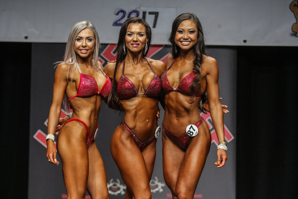 Zulmira Woodrow (middle) wins the up to 163 cm bikini fitness class at last year's UK Nationals. PHOTO: Christopher Bailey