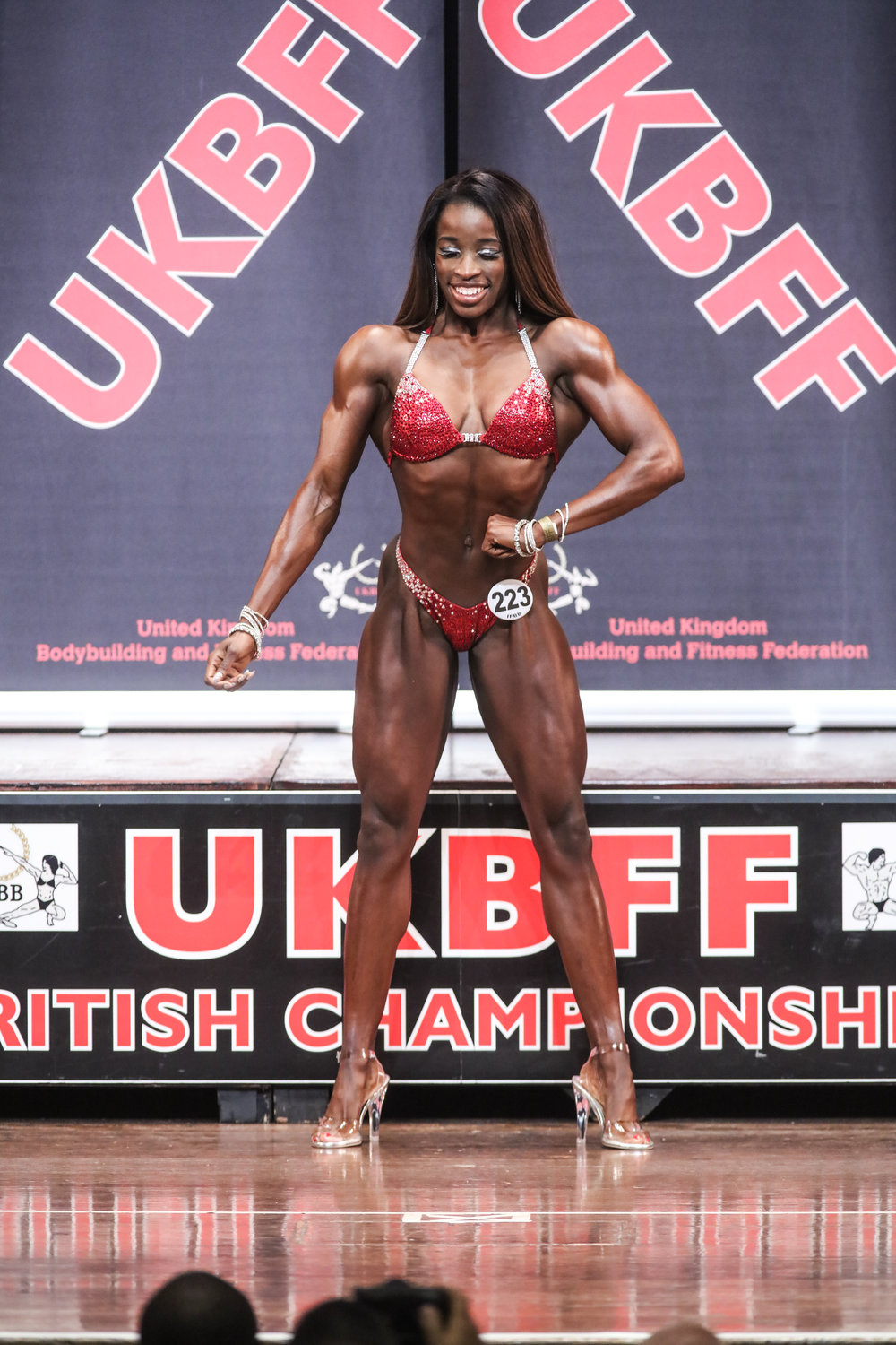 Rhea on stage at last year's British Championships. Photo by Christopher Bailey.