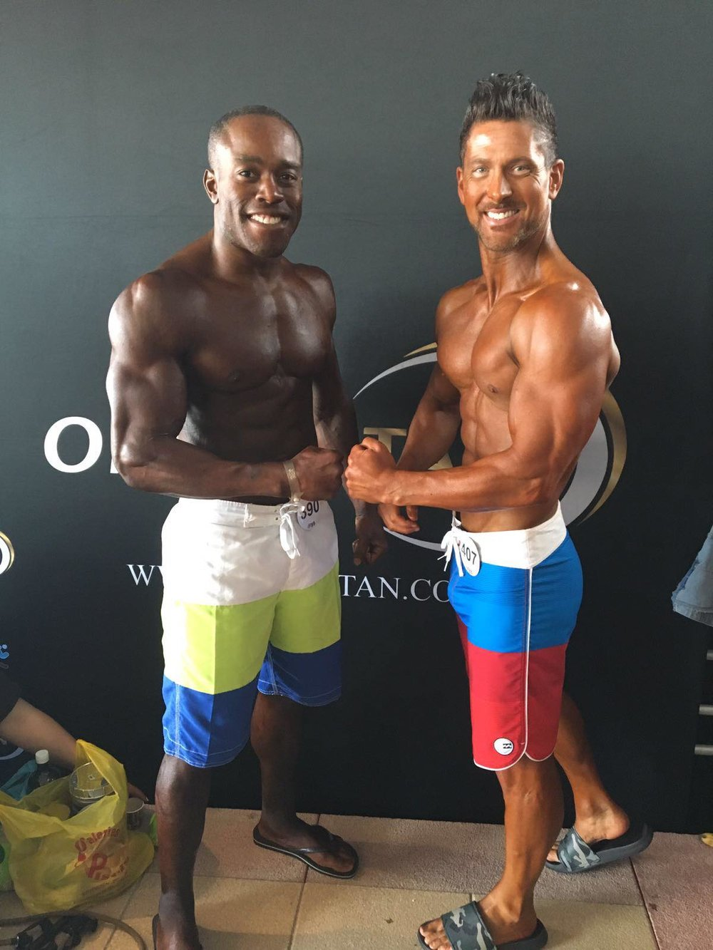 Ricky Beckford (right) won silver in masters men's physique. Fellow UK athlete Dave Walters (left) was sixth in his age group.