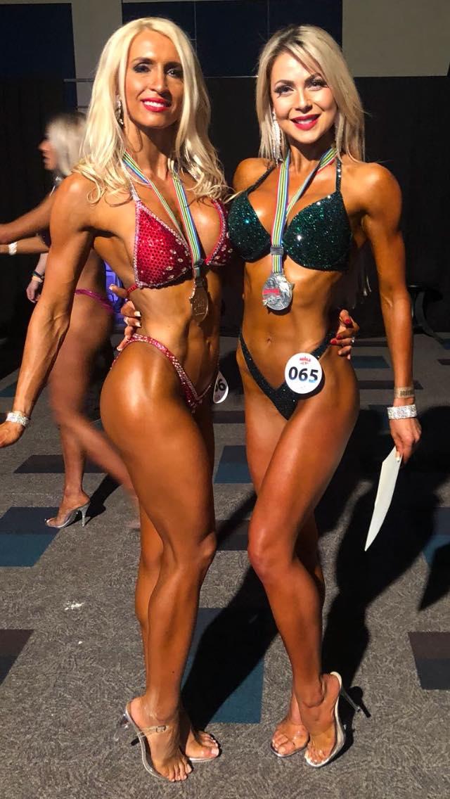 British bikini fitness internationals Anna Pearson (left) and Lisa-Marie Graham.