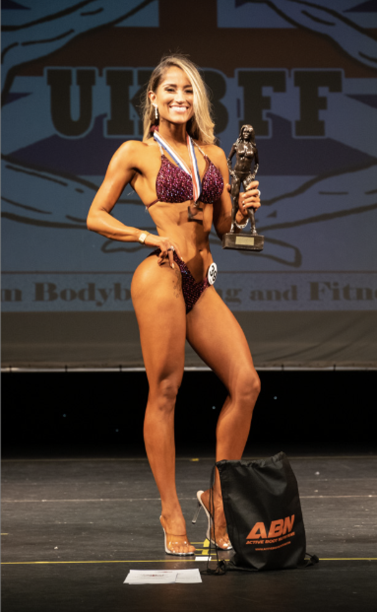 Karina Vasquez wins the short bikini fitness class. PHOTO: Kevin Horton