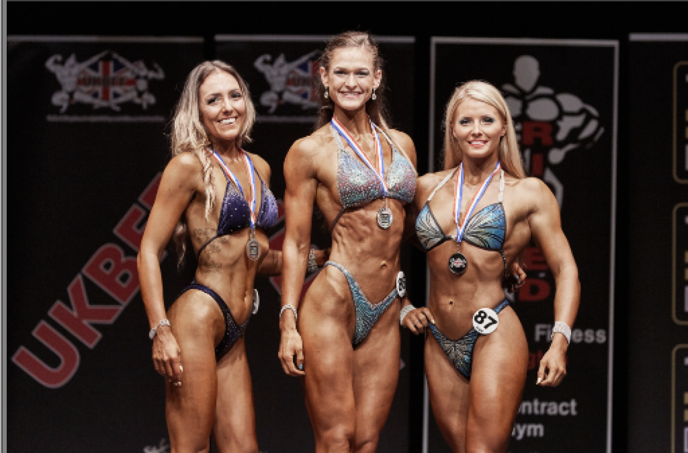 Bodyfitness top 3 (from left) 3 Amy Beckett 1 Aimee Blanchard 2 Shanice Northrop. Pic by Christopher Bailey.