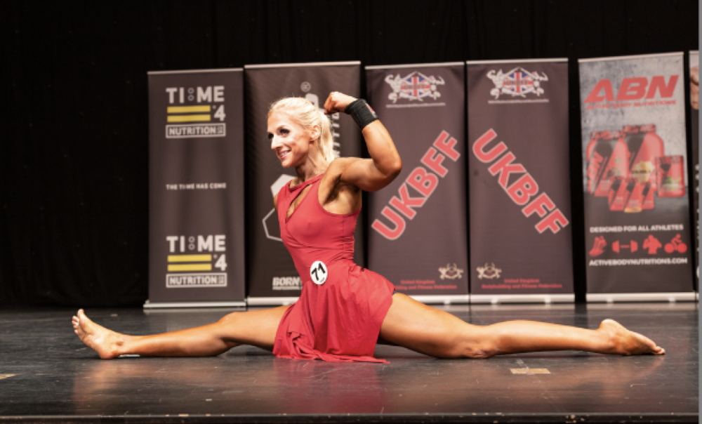 Cat Jones demonstrates her flexibility during her fitness routine. PHOTO: Kevin Horton