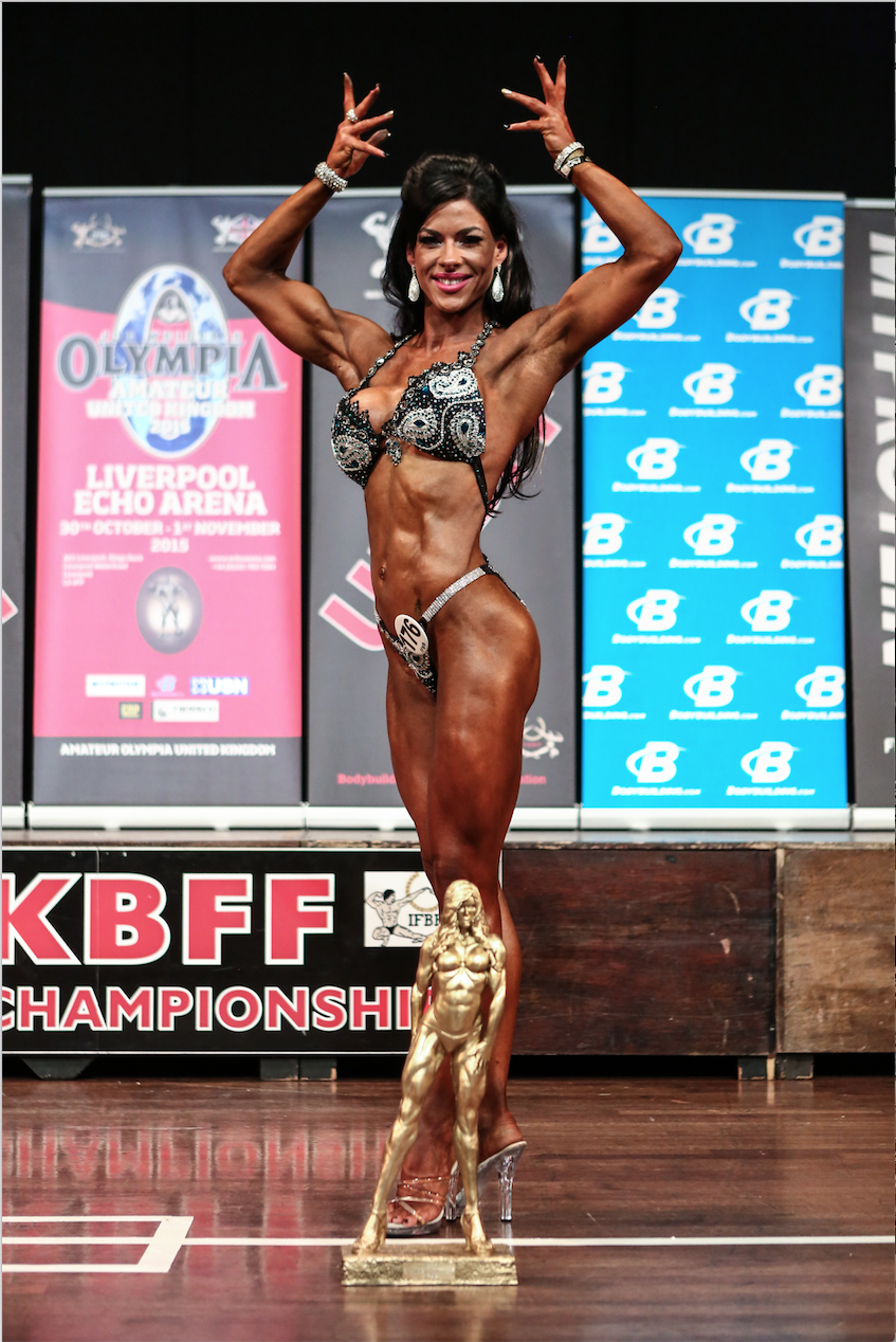 Two-time British bodyfitness champion Michelle Morris, from Scotland, with her trophy in 2015. PHOTO: Christopher Bailey
