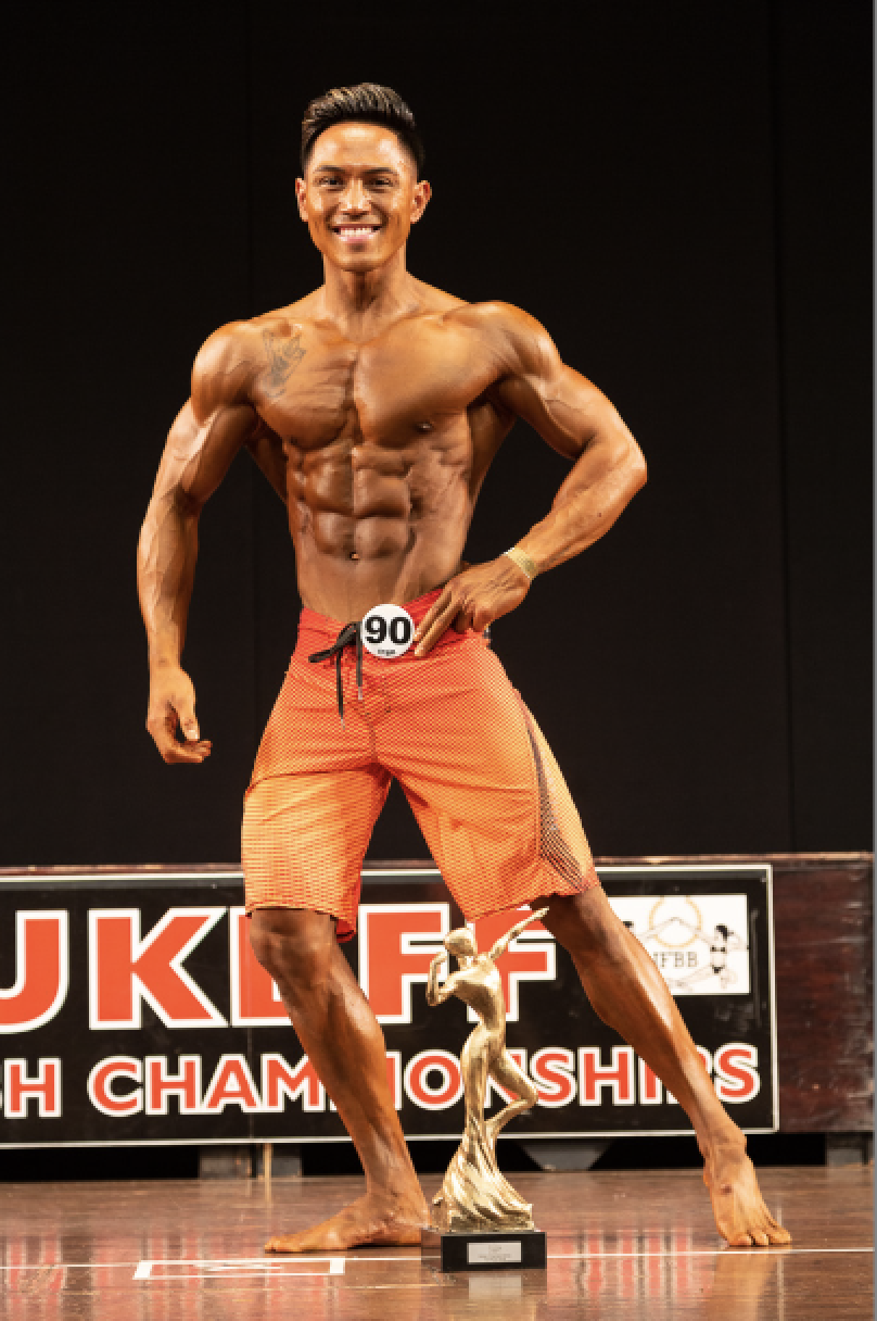 El Noval, who won the up to 173 cm men's physique height class and overall. Pic by Kevin Horton.