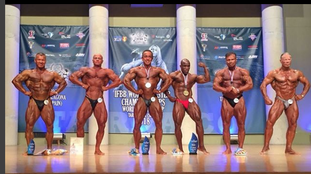 Top 6 in over-55s bodybuilding. Nick Swann is third from the left.