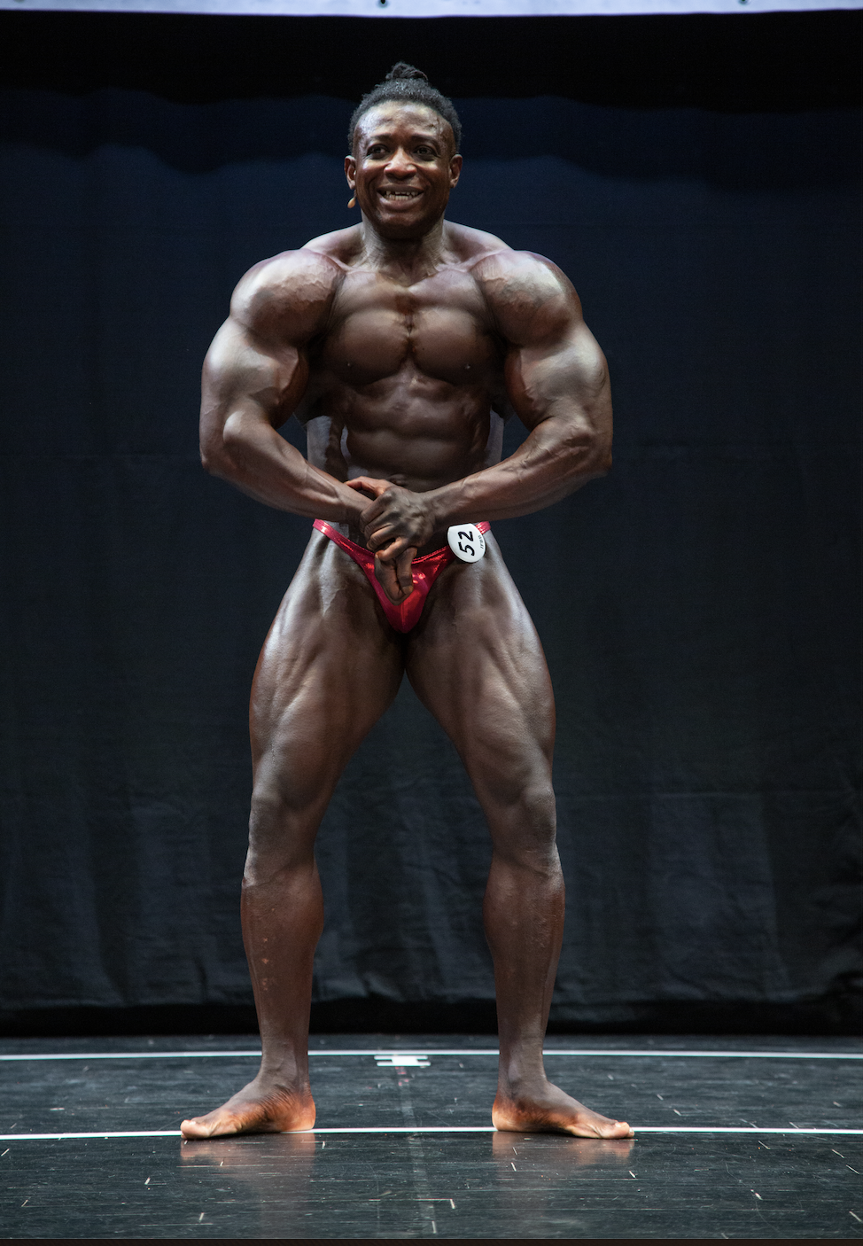 Keith Nimo, who won the over-40s and over-90 kg bodybuilding classes.