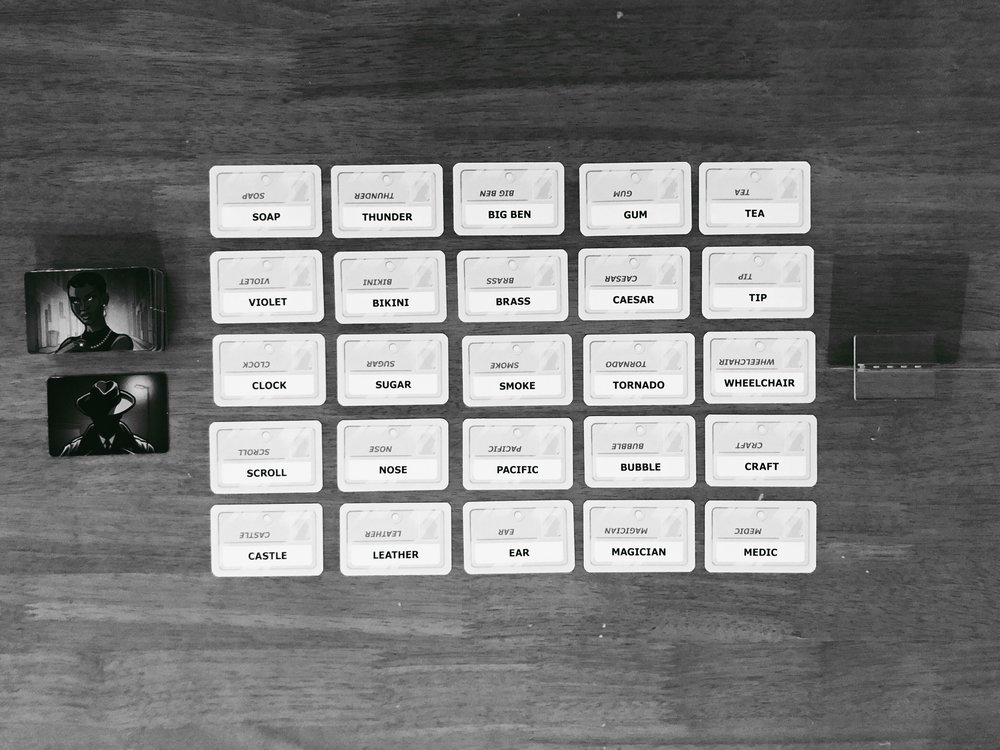 Codenames Duet Set-Up - word cards in a 5x5 grid