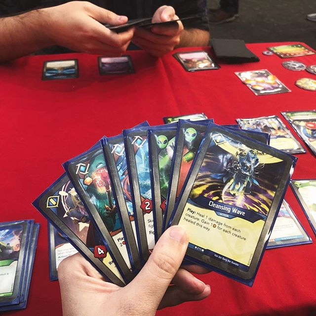 Less than a month to the release of Keyforge! 🙌 ⠀⠀⠀⠀⠀⠀⠀⠀⠀ Keyforge: Call of the Archons is a very unusual card game where every deck is unique. Jamie has been excited for it since the announcement, but I was far less sure - that is, until we played a demo of it at Tabletop Gaming Live last month! I was surprised by just how much I liked the theme and the mechanics, how simple it was to learn, and I really do love that there's no deck building or booster packs, making it a far more affordable alternative to LCGs. Not to mention I won our first game of it, which definitely helped to win me over 😂