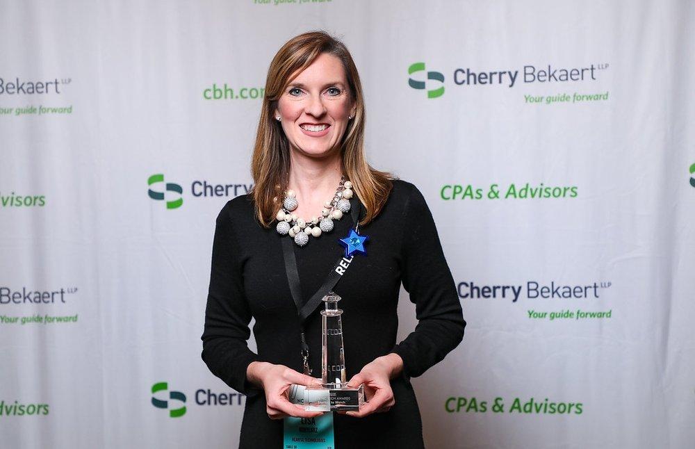 Hearful CEO Lisa Kobylarz at the 2018 NC-TECH Awards (Ken A. Huth 2018)
