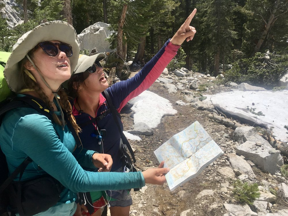 Indigo and Airplane Mode navigating the Sierras in a definitely not staged picture.
