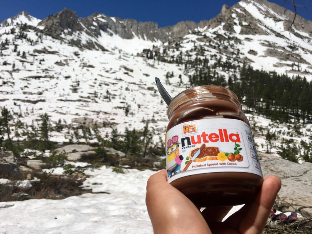 Eating Nutella with a spoon after Forrester Pass