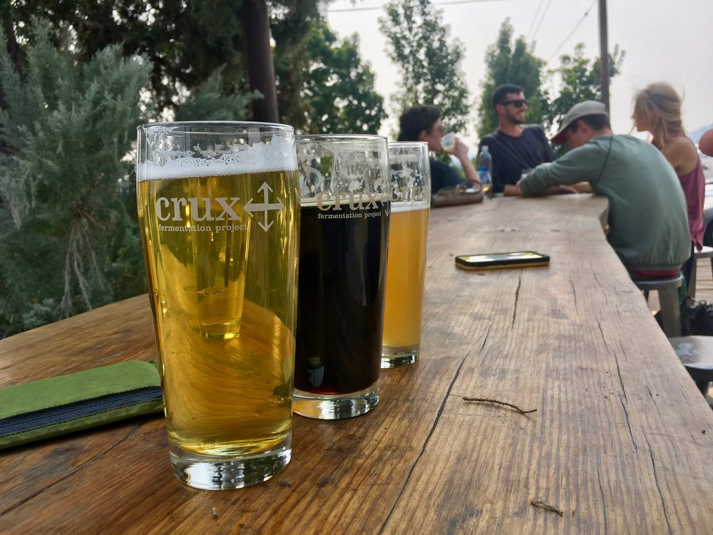 Free hiker beer at Crux Brewery in Bend, OR. Thanks, Crux!