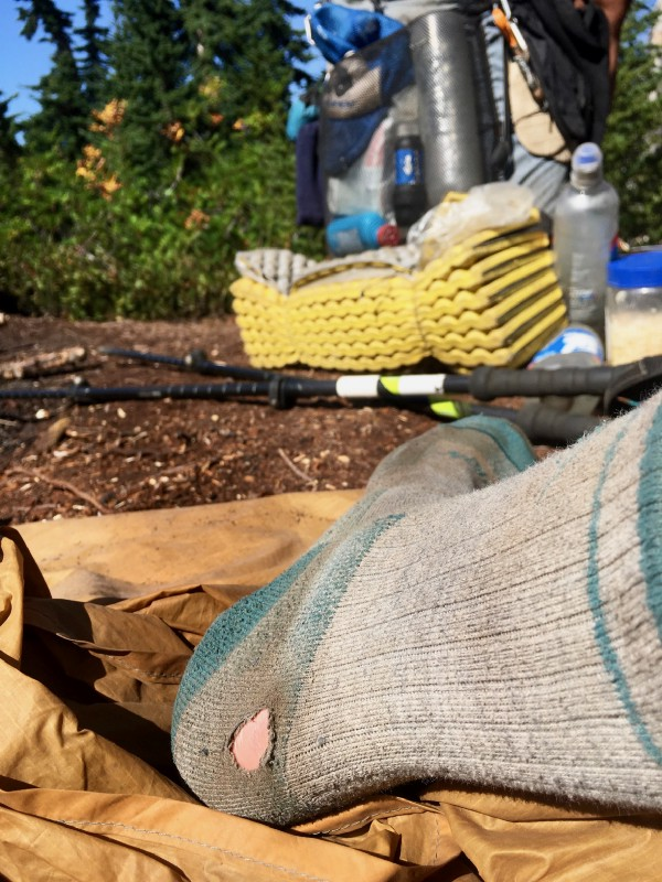 I was pretty amazed that these socks made it over 1,300 miles before developing a hole.