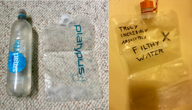 Left: A beat up Smartwater bottle and a brand new Platypus 2L; Right: A properlly labeled Evernew 2L